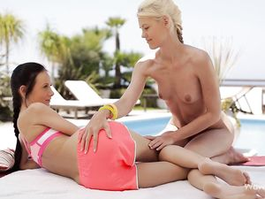 Blonde Teen Pool Babe Eats Out A Young Lesbian