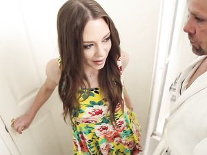 Brunette In A Pretty Floral Dress Fucked Anally