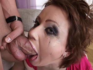 Spit Covered Teen Face After A Gagging Blowjob