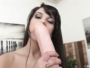 Teen Sucks Pussy Juices Off Her Huge Dildo
