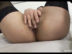 Horny Nylons Babe Drops To Her Knees To Suck Dicks