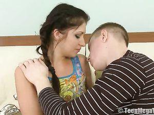 Cute Cocksucking Teen Slut Fucked In Her Bald Pussy