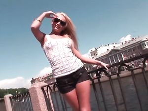 Hot Euro Blonde Teases Her Tits And Ass In Public