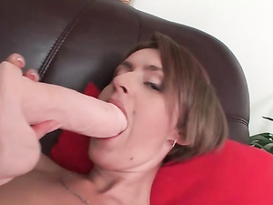 Sexy Brunette Loves Playing With Her Big Sex Toy