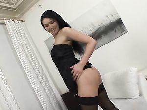 Seductress In A Black Dress Fucks Two Guys