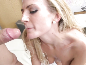 Bendy Blonde Enjoys Sucking This Guys Hard Pecker