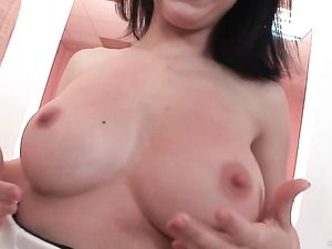 Naturally Busty Teen Takes On Two Guys For A Wild DP