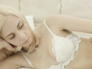 Solo Blonde Romances You In Perfect White Lingerie