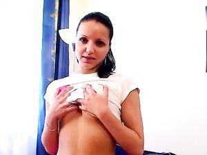 Smoking Hot Pink Miniskirt On This Stripping Teen