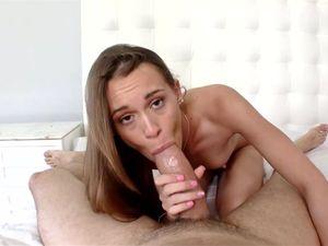 Skinny Brunette Gets A Cum Shot After Pounding