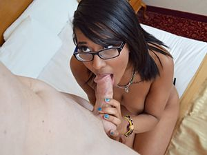 Nerdy Black Babe With Glasses And A Face Full Of Cum