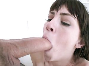 Big Cock Cums On Her Pierced Tongue And Pretty Face