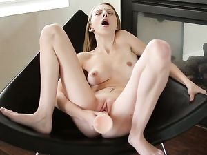 Tiny Babe Opens Wide To Suck On His Big Cock