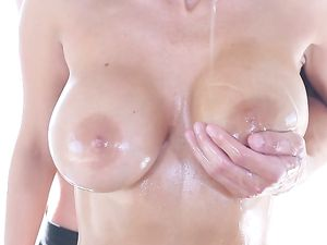 Fucking Her Big Oiled Up Tits And Her Juicy Cunt
