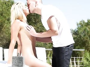 Satisfying A Turned On Blonde Teen Poolside
