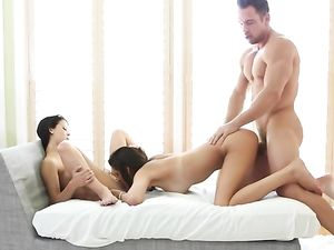 Good Girls Have A Sensual FFM Threesome For His Cum