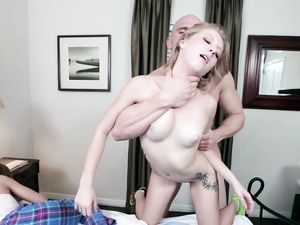 Her Roomie Sleeps As The Teen Takes A Big Cock