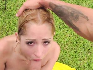 Petite Hottie Goldie In The Grass Getting Fucked