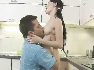 Anal On The Kitchen Counter With A Cute Teenager