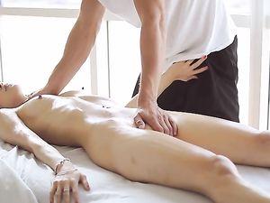 Slim Body Beauty Elena Dobrev Enjoys Massage And Cock