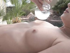 Poolside Pounding Of Her Tight Pussy By His Big Cock